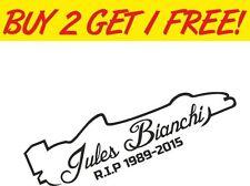 Jules Bianchi RIP Memorial Vinyl Car Window BUMPER Stickers Decals