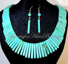 Graduated Natural Cabo Turquoise Stick Bib Necklace Stone Chunky Fashion Set