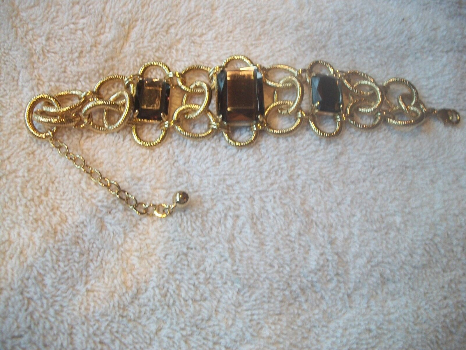 NOLAN MILLER Bracelet WOW FACTOR Textured goldtone Brown Crystal NEW Free Ship