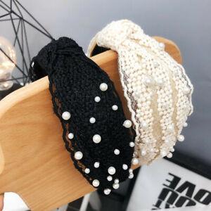 Womens Tie Pearl Lace Hairband Headband Knot Fabric Hair Hoop Bands Accessories