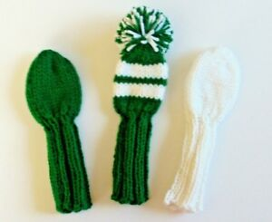 Sale 3 Green White Hand Knit Golf Club Head Covers 8 Putter Iron