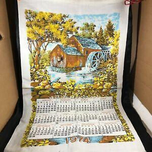 Vintage Cloth Linen Calendar 1974 Watermill