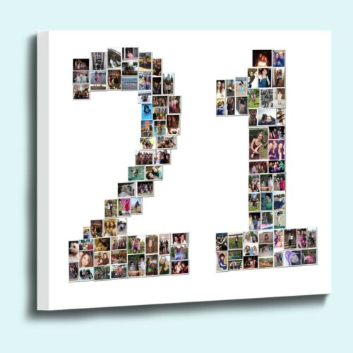 Fantastic personalised number shape photo collage box framed canvas print