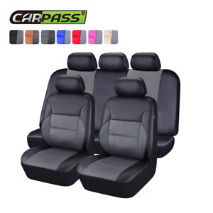 Universal-Car-Seat-Covers-PU-Leather-Mesh-Grey-Breathable-for-SUV-SEDAN-VAN