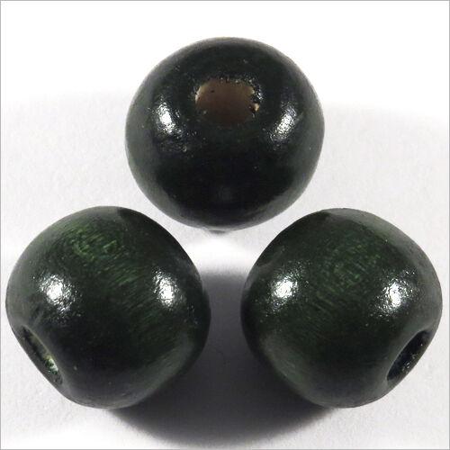 Lot de 20 Perles rondes en Bois 14mm Vert foncé