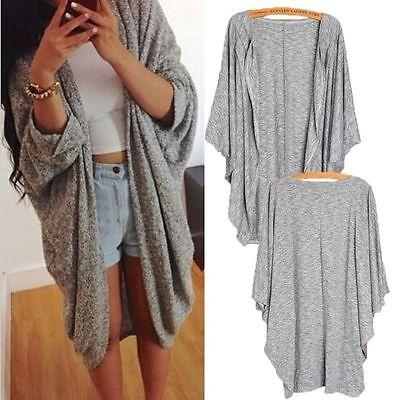 Women's Batwing Top Poncho Knit Cape Cardigan Coat Knitwear Sweater Jacket NEW