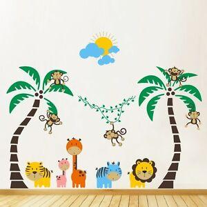 Details About Kids Wall Stickers Jungle Nursery Tree Animals Monkey Vinyl Decals P393