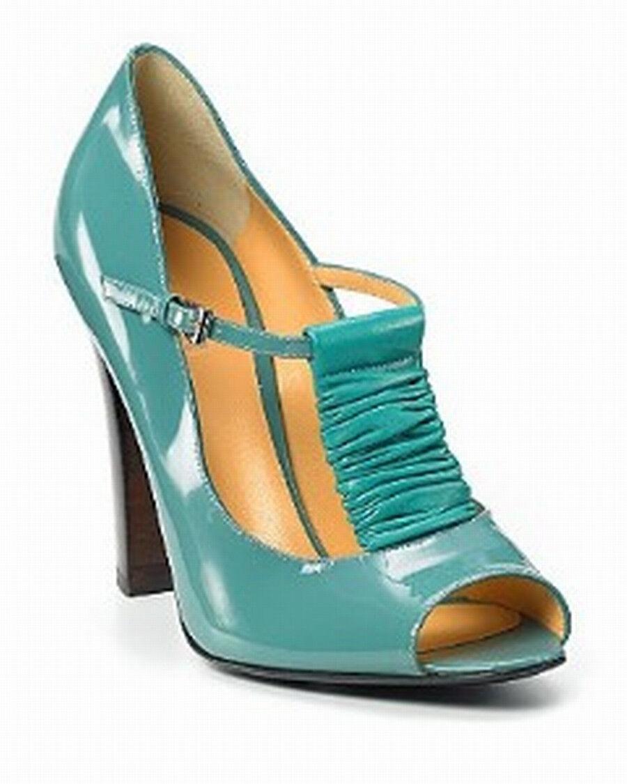 Pollini  575  Patent Leather T-Strap Peeptoe High Heel Pumps    38.5  US 8.5