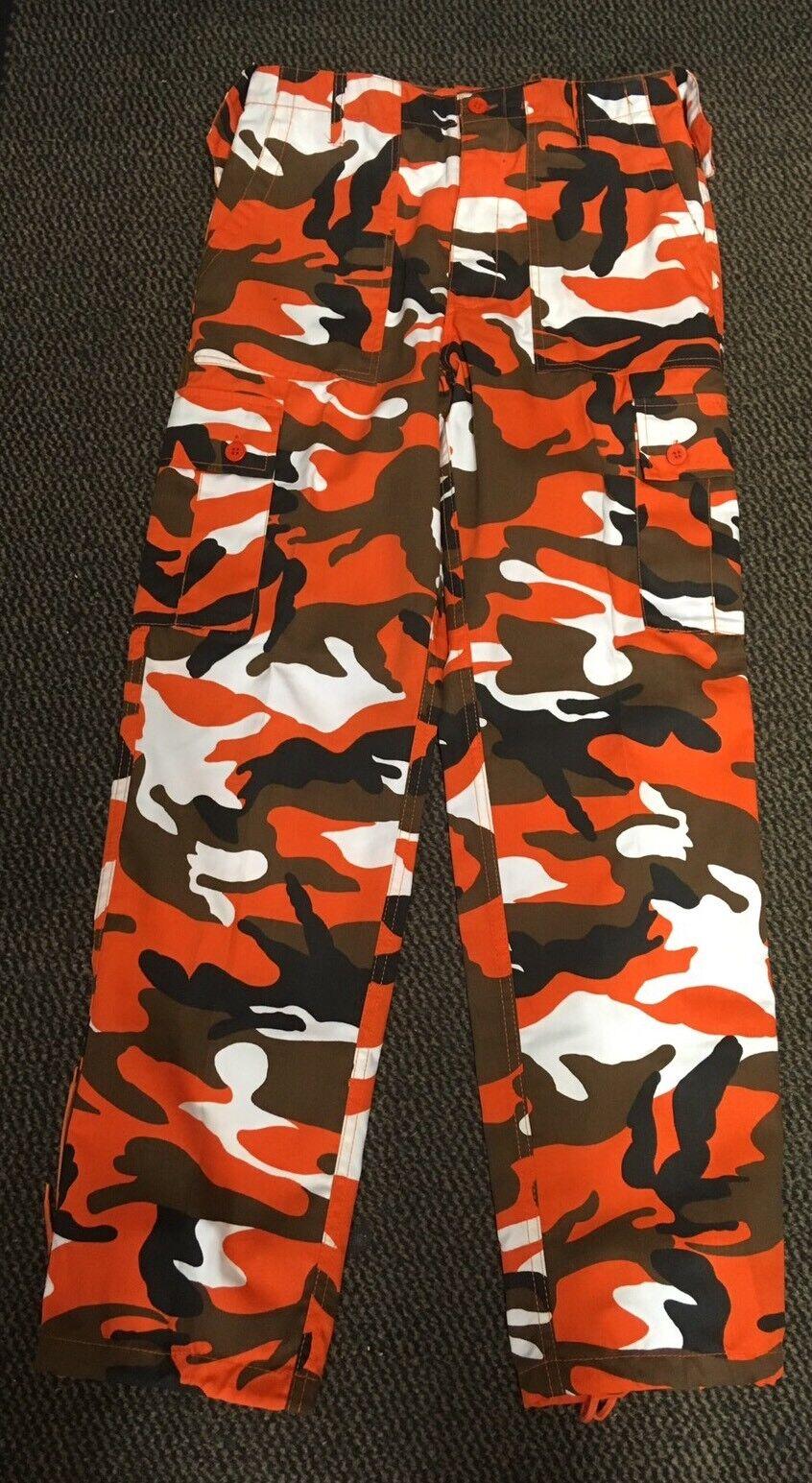 "New Men's  orange Camouflage BDU Style Lightweight Trousers 36"" Reg"