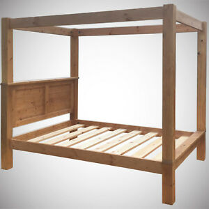 6ft Super King Four Poster Bed Frame Pine Wood Hidden Fittings