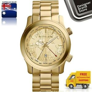New michael kors watch runway collectors spl ed gmt gold world map image is loading new michael kors watch runway collectors spl ed gumiabroncs Choice Image