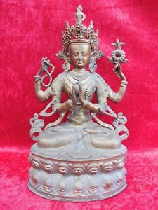 Asian Antiques Smart Hermosa Antiguo Bronce Figura __ Vierarmiger Buda __ TÍbet __ 37cm _ For Fast Shipping
