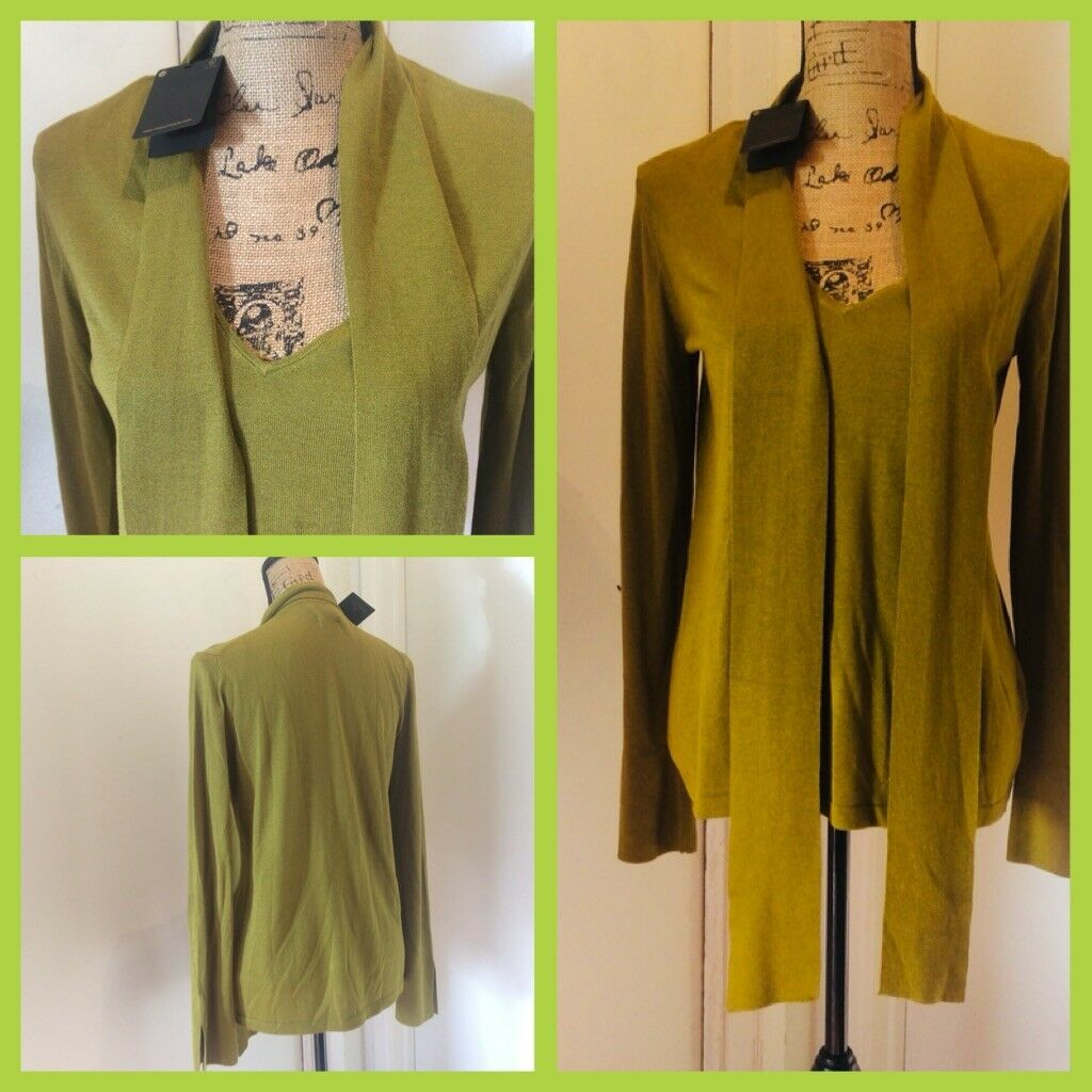 Massimo Dutti Olive Green Silk Blend Sweater Long Sleeve Size M MSRP  95
