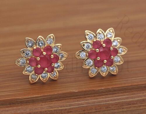 18K Gold filled-multicouche Ruby Fleur Boucles d/'oreilles pétale flocon de neige Oreille Stud Fille