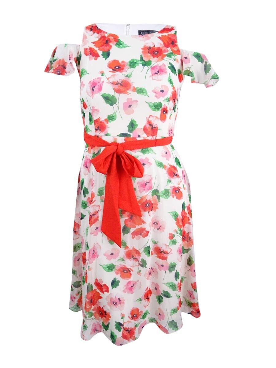 Jessica Howard Women's Petite Floral-Print Cold-Shoulder Dress (12P, Poppy)