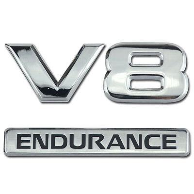 CHROME V8 ENDURANCE EMBLEM/BADGE FOR TRUCK TAIL GATE V-8 TAILGATE DOOR STOCK