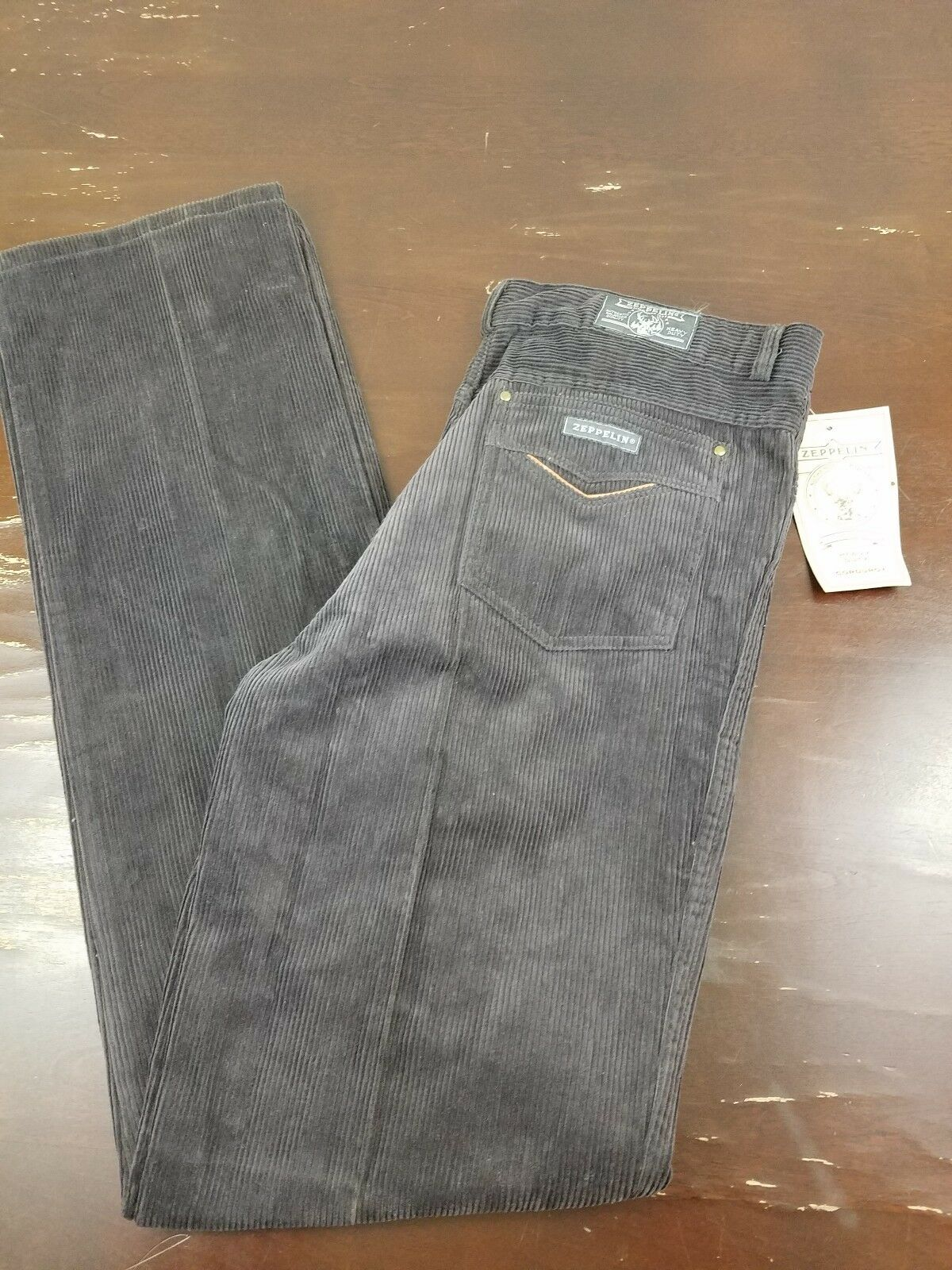 VINTAGE 1970's ZEPPELIN BROWN CORDUROY PANTS SIZE 36x35.5 NEW WITH TAGS NOS