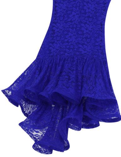 Damen Blumen Spitze Latein Tango Rumba Kleid Elegant Asymmetrisches Tanzkleid