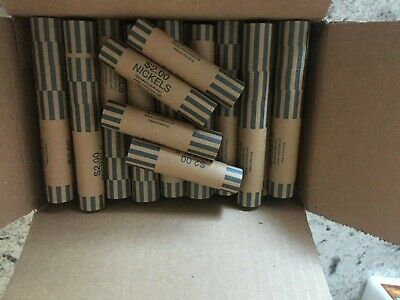 5 Cent nickels 200 Nickel Paper Coin Wrappers Pre-Crimped 1 End Shotgun Rolls