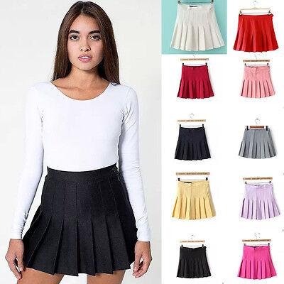 HOT Spring Women's Retro High Waist Pleated Skirt Short Mini Skirts Tennis Skirt