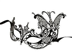 Masque venitien loup papillon en dentelle de metal noir carnaval venise 1268 ebay - Masque papillon carnaval ...