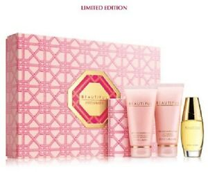NIB-Estee-Lauder-4-pc-Beautiful-Set-Eau-de-Parfum-Perfume-Lotion-Powder-Gelee