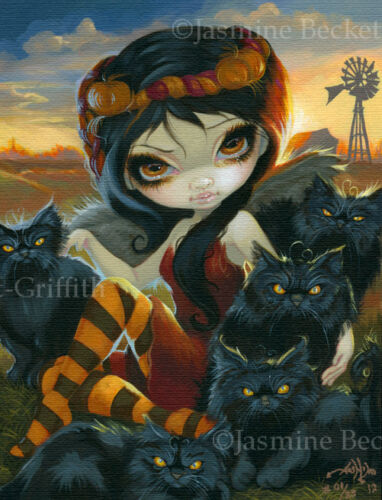 Autumn Kitty Jasmine Becket-Griffith CANVAS PRINT Halloween black cat fairy art