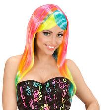 Ladies Rainbow Mermaid Wig Neon Fashion Multi-Coloured Fancy Dress Hen Night