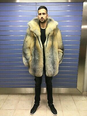 Luxury Full Skin Golden Island Fox Fur, Real Fur Coats Men