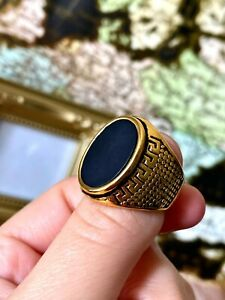 Solid-Italy-14k-Gold-filled-SS-Men-039-s-Signet-Ring-Every-Day-Wear-Warranty-Luxury