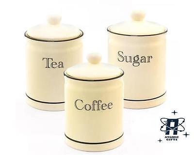 VINTAGE RETRO STYLED CREAM & BLACK LINE SET OF 3 TEA COFFEE SUGAR CANISTERS POTS