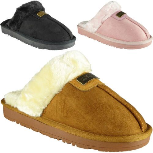 Ladies Novelty Faux Fur New Warm Comfy Stuffed Slippers Indoor Shoes Size