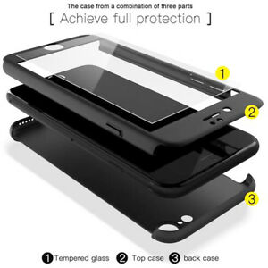 For-iPhone-5S-SE-7s-Plus-Hybrid-Case-360-Full-Protection-Temper-Flass-Film-Cover