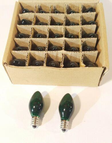 C7 Incandescent LightbulbsGREEN25 Count BoxBRAND NEW