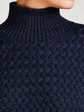BNWT Nicole Farhi textured archive roll neck jumper.Navy.Large.£295
