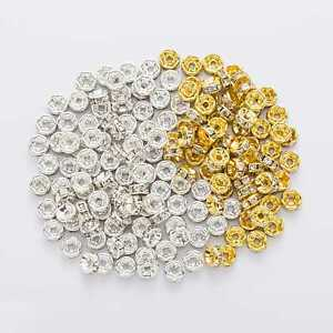 50 Piece Flower Side Rhinestone Rondelle Spacers Beads Jewelry Making 4-12mm