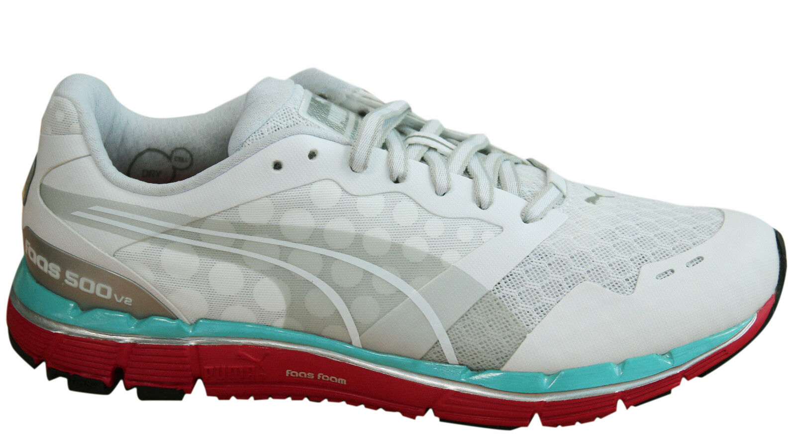 Puma Faas 500 V2 Womens Trainers Lace Up Running shoes Mesh White 186489 01 D26