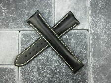 OMEGA 20mm Black Calf Leather Deployment Strap White Stitch Watch Band Seamaster