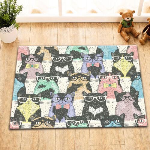 Hipster Cartoon Cute Cats Shower Curtain Set Polyester Waterproof Fabric Hooks