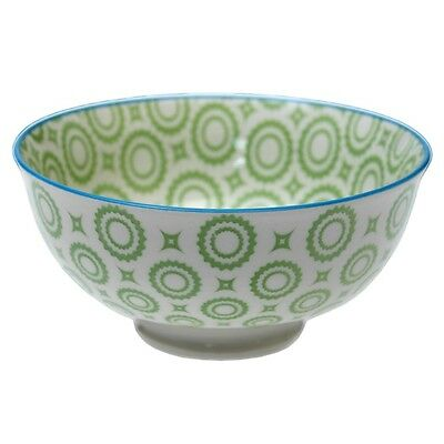 dotcomgiftshop SMALL PORCELAIN JAPANESE BLOSSOM BOWL GREEN CIRCLES DESIGN