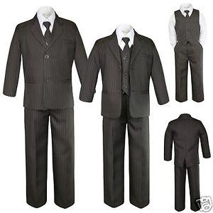 Baby Toddler Kid Boy Formal Brown Pinstripes Tuxedo Suit sz S M L XL 2T 3T 4T-12