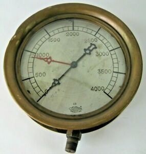 Antique-Azadian-Mfg-Co-10-1-2-034-4000-PSI-Boiler-Gauge-All-Brass-NY-Steampunk