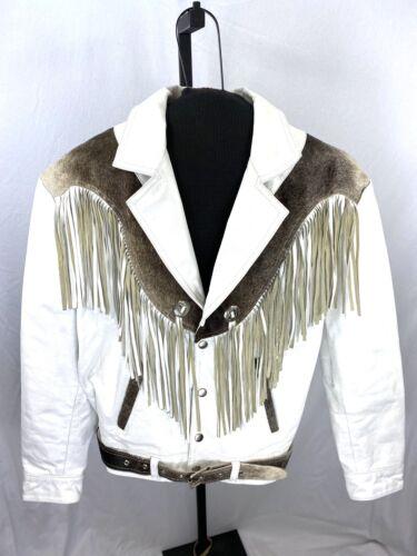 Vintage BoHo White Leather Cowhide Fringe D'Roan J