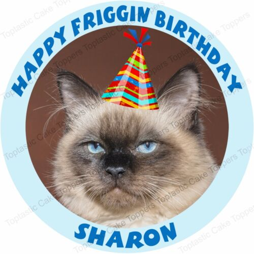 Personalised Sad Grumpy Sarcastic Angry Frowning Cat Icing Birthday Cake Topper