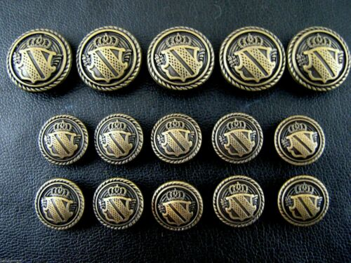 Ein Set Von Antik Bronze Metall Militär Shield Blazer Knöpfe B1978