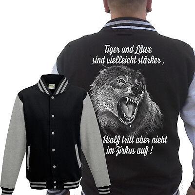 Wolf Collegejacke Grau Berserker Wikinger Viking Zirkus Löwe Tiger Zirkus Freigabepreis