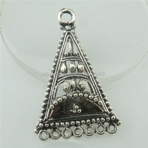 18458 10x Antique Tibetan Silver European Triangle Filigrane Pendentif pour boucle d/'oreille