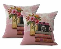 Us Seller-set Of 2 Vintage Floral Camera Books Cushion Cover Decorative Pillows