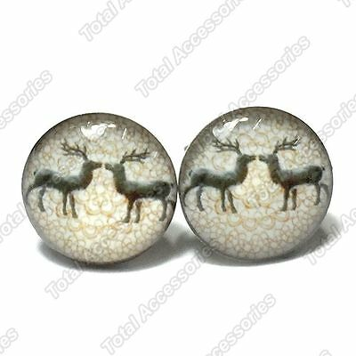 Reindeer Couple Stainless Steel Stud Earrings Pair - Mens Womens Fashion - New