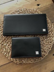 Unused Vintage Alfred Dunhill Black/Tan Card Holder/Purse And Matching Wallet.